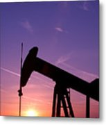 Oil Rig At Sunset Metal Print by Connie Cooper-Edwards