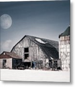 Old Barn And Winter Moon - Snowy Rustic Landscape Metal Print by Gary Heller