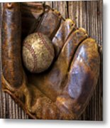 Old Baseball Mitt And Ball Metal Print by Garry Gay