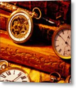 Old Books And Pocket Watches Metal Print by Garry Gay