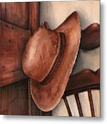 Old Garden Hat Metal Print by Angela Armano