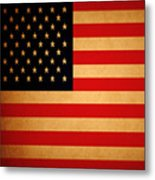 Old Glory . Square Metal Print by Wingsdomain Art and Photography