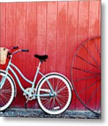 Old Red Barn And Bicycle Metal Print by Margaret Hood
