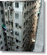 Old Run-down Concrete High-rise Apartment Buildings In Kowloon Metal Print by Sami Sarkis