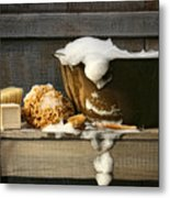 Old Wash Tub With Soap On Bench Metal Print by Sandra Cunningham