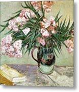 Oleanders And Books Metal Print by Vincent van Gogh
