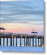 Orange Beach Pier Metal Print by JC Findley