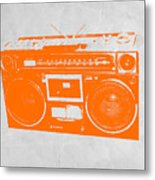 Orange Boombox Metal Print by Naxart Studio