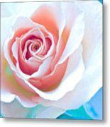Orange White Blue Abstract Rose Metal Print by Artecco Fine Art Photography