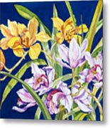 Orchids In Blue Metal Print by Lucy Arnold