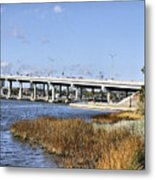Ormond Beach Bridge Metal Print by Deborah Benoit