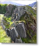 Outcrop In Snowdonia Metal Print by Harry Robertson