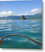 Outrigger On Ocean Metal Print by Dana Edmunds - Printscapes