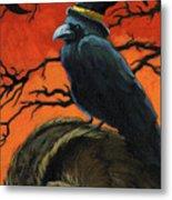 Owl And Crow Halloween Metal Print by Linda Apple