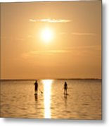 Paddle Boarding Out Of The Sunset Metal Print by Bill Cannon