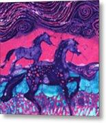 Painted Horses Below The Wind Metal Print by Carol  Law Conklin