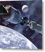 Painting Of Apollo-soyuz Test Project Metal Print by Everett
