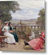 Painting On The Terrace Metal Print by Jules Frederic Ballavoine