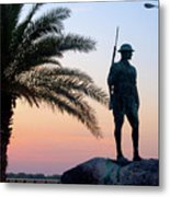 Palatka Memorial Bridge Doughboy At Sunset Metal Print by Angie Bechanan