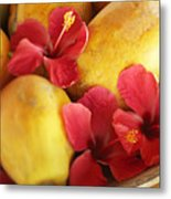 Papaya Fruit And Hibiscus Metal Print by Kyle Rothenborg - Printscapes