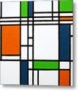Parallel Lines Composition With Blue Green And Orange In Opposition Metal Print by Oliver Johnston