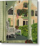 Patriotic Country Porch Metal Print by Charlotte Blanchard