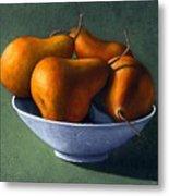 Pears In Blue Bowl Metal Print by Frank Wilson