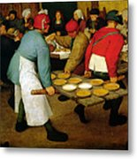 Peasant Wedding Metal Print by Pieter the Elder Bruegel