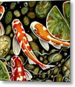 Pebbles And Koi Metal Print by Elizabeth Robinette Tyndall