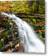 Pennsylvania Autumn Ricketts Glen State Park Waterfall Metal Print by Mark VanDyke