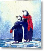 Penquins An Christmas Star Metal Print by Peggy Wilson
