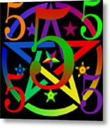 Penta Pentacle In Black Metal Print by Eric Edelman
