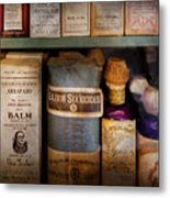 Pharmacy - Oils And Balms Metal Print by Mike Savad