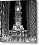 Philadelphia City Hall At Night Metal Print by Val Black Russian Tourchin
