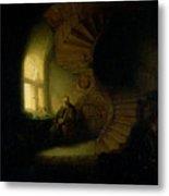 Philosopher In Meditation Metal Print by Rembrandt