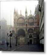 Piazzetta San Marco In Venice In The Morning Fog Metal Print by Michael Henderson