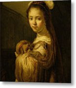 Picture Of A Young Girl Metal Print by Govaert Flinck