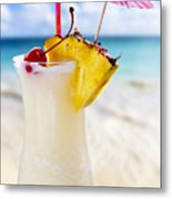 Pina Colada Cocktail On The Beach Metal Print by Elena Elisseeva