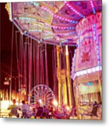 Pink Carnival Festival Ferris Wheel Night Ride Metal Print by Kathy Fornal