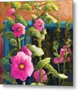 Pink Hollyhocks Metal Print by Candy Mayer