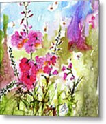 Pink Lavatera Watercolor Painting By Ginette Metal Print by Ginette Callaway