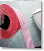 Pink Toilet Roll On Holder In Bathroom Metal Print by Sami Sarkis