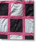 Pink White And Black Dot Quilt Metal Print by Brianna Emily Thompson