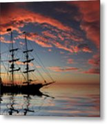 Pirate Ship At Sunset Metal Print by Shane Bechler