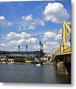 Pnc Park And Roberto Clemente Bridge Pittsburgh Pa Metal Print by Kristen Vota