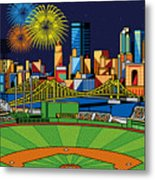 Pnc Park Fireworks Metal Print by Ron Magnes