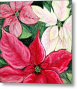 Poinsettia Pastel Metal Print by Nancy Mueller