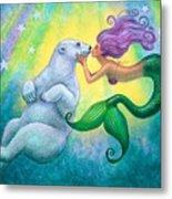 Polar Bear Kiss Metal Print by Sue Halstenberg