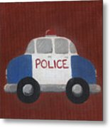 Police Car Nursery Art Metal Print by Katie Carlsruh