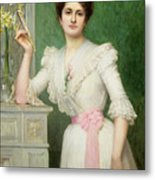 Portrait Of A Lady Holding A Fan Metal Print by Jules-Charles Aviat